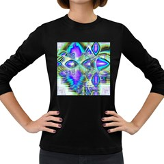Abstract Peacock Celebration, Golden Violet Teal Women s Long Sleeve T Shirt (dark Colored)