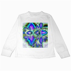 Abstract Peacock Celebration, Golden Violet Teal Kids Long Sleeve T-Shirt