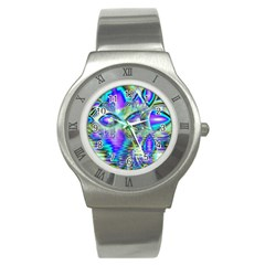 Abstract Peacock Celebration, Golden Violet Teal Stainless Steel Watch (Slim)