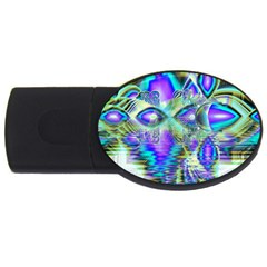 Abstract Peacock Celebration, Golden Violet Teal 4GB USB Flash Drive (Oval)