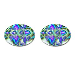 Abstract Peacock Celebration, Golden Violet Teal Cufflinks (Oval)