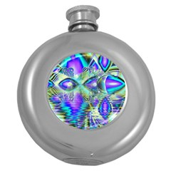 Abstract Peacock Celebration, Golden Violet Teal Hip Flask (round)