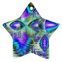 Abstract Peacock Celebration, Golden Violet Teal Star Ornament (Two Sides)