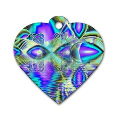 Abstract Peacock Celebration, Golden Violet Teal Dog Tag Heart (Two Sided)