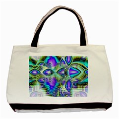 Abstract Peacock Celebration, Golden Violet Teal Twin-sided Black Tote Bag