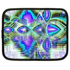 Abstract Peacock Celebration, Golden Violet Teal Netbook Sleeve (large)