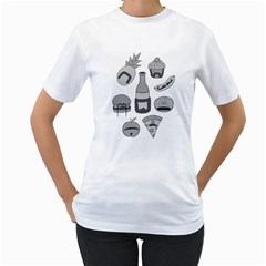 Food with Facial Hair Women s T-Shirt (White)