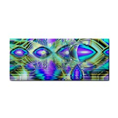 Abstract Peacock Celebration, Golden Violet Teal Hand Towel