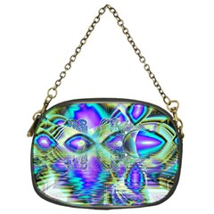 Abstract Peacock Celebration, Golden Violet Teal Chain Purse (One Side)