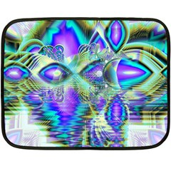Abstract Peacock Celebration, Golden Violet Teal Mini Fleece Blanket (Two Sided)