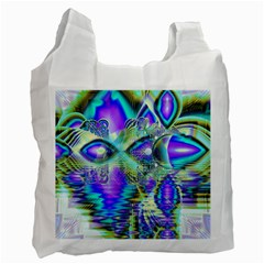 Abstract Peacock Celebration, Golden Violet Teal White Reusable Bag (Two Sides)