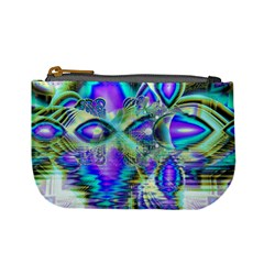 Abstract Peacock Celebration, Golden Violet Teal Coin Change Purse