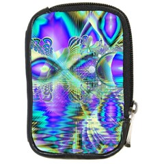 Abstract Peacock Celebration, Golden Violet Teal Compact Camera Leather Case