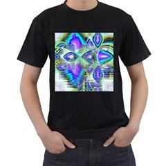 Abstract Peacock Celebration, Golden Violet Teal Men s T-shirt (Black)