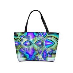 Abstract Peacock Celebration, Golden Violet Teal Large Shoulder Bag