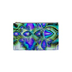 Abstract Peacock Celebration, Golden Violet Teal Cosmetic Bag (Small)