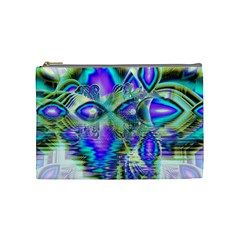 Abstract Peacock Celebration, Golden Violet Teal Cosmetic Bag (medium)