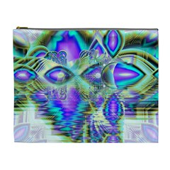 Abstract Peacock Celebration, Golden Violet Teal Cosmetic Bag (XL)