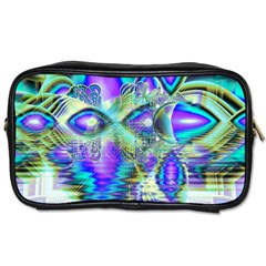 Abstract Peacock Celebration, Golden Violet Teal Travel Toiletry Bag (Two Sides)