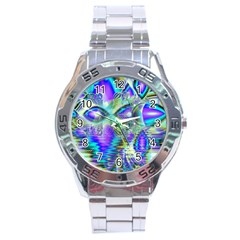 Abstract Peacock Celebration, Golden Violet Teal Stainless Steel Watch