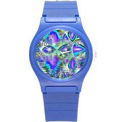 Abstract Peacock Celebration, Golden Violet Teal Plastic Sport Watch (Small)