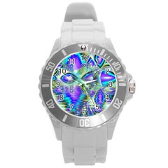 Abstract Peacock Celebration, Golden Violet Teal Plastic Sport Watch (Large)