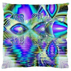 Abstract Peacock Celebration, Golden Violet Teal Large Cushion Case (Two Sided)