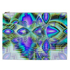 Abstract Peacock Celebration, Golden Violet Teal Cosmetic Bag (XXL)