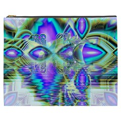 Abstract Peacock Celebration, Golden Violet Teal Cosmetic Bag (XXXL)