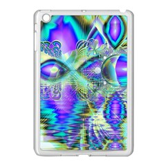 Abstract Peacock Celebration, Golden Violet Teal Apple iPad Mini Case (White)
