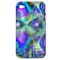 Abstract Peacock Celebration, Golden Violet Teal Apple Iphone 4/4s Hardshell Case (pc+silicone)