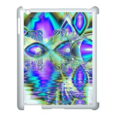 Abstract Peacock Celebration, Golden Violet Teal Apple iPad 3/4 Case (White)