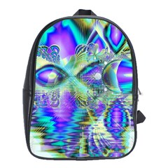 Abstract Peacock Celebration, Golden Violet Teal School Bag (XL)