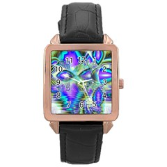 Abstract Peacock Celebration, Golden Violet Teal Rose Gold Leather Watch