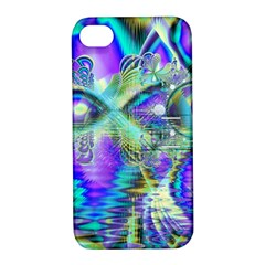 Abstract Peacock Celebration, Golden Violet Teal Apple Iphone 4/4s Hardshell Case With Stand