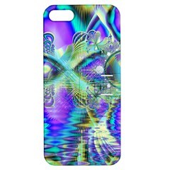 Abstract Peacock Celebration, Golden Violet Teal Apple iPhone 5 Hardshell Case with Stand