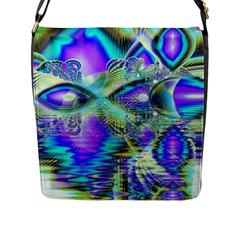 Abstract Peacock Celebration, Golden Violet Teal Flap Closure Messenger Bag (large)