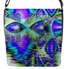 Abstract Peacock Celebration, Golden Violet Teal Flap Closure Messenger Bag (Small)