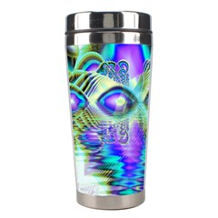 Abstract Peacock Celebration, Golden Violet Teal Stainless Steel Travel Tumbler