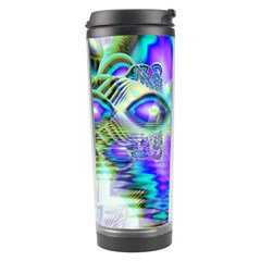 Abstract Peacock Celebration, Golden Violet Teal Travel Tumbler
