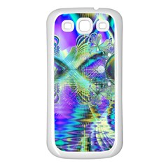 Abstract Peacock Celebration, Golden Violet Teal Samsung Galaxy S3 Back Case (white)