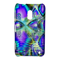 Abstract Peacock Celebration, Golden Violet Teal Nokia Lumia 620 Hardshell Case