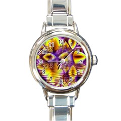 Golden Violet Crystal Palace, Abstract Cosmic Explosion Round Italian Charm Watch
