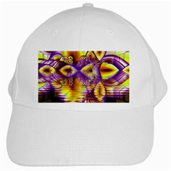 Golden Violet Crystal Palace, Abstract Cosmic Explosion White Baseball Cap