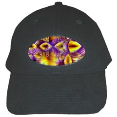 Golden Violet Crystal Palace, Abstract Cosmic Explosion Black Baseball Cap