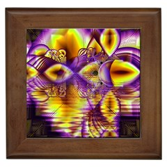 Golden Violet Crystal Palace, Abstract Cosmic Explosion Framed Ceramic Tile