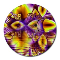 Golden Violet Crystal Palace, Abstract Cosmic Explosion 8  Mouse Pad (round)