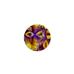 Golden Violet Crystal Palace, Abstract Cosmic Explosion 1  Mini Button Magnet
