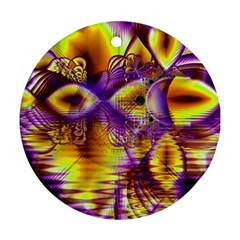 Golden Violet Crystal Palace, Abstract Cosmic Explosion Round Ornament