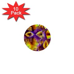 Golden Violet Crystal Palace, Abstract Cosmic Explosion 1  Mini Button (10 pack)